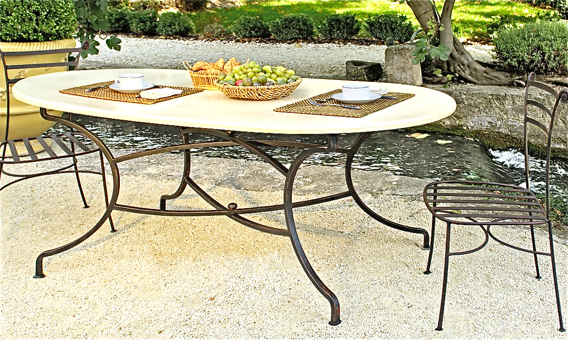 Table fer forg ovale torino - Table de jardin fer forge ...