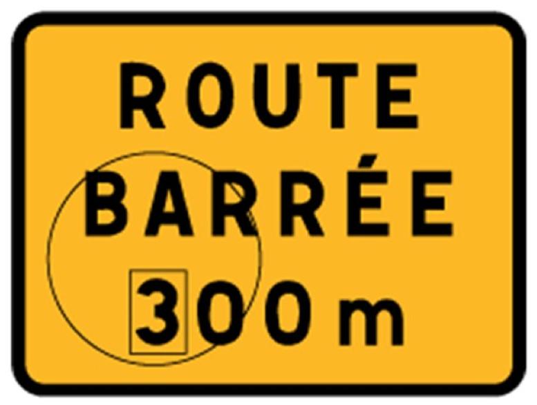 Panneau route barru00e9e avec disque KC1